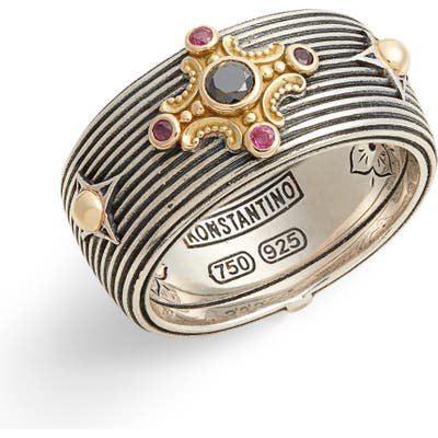 Konstantino Delos Gemstone Cross Ring