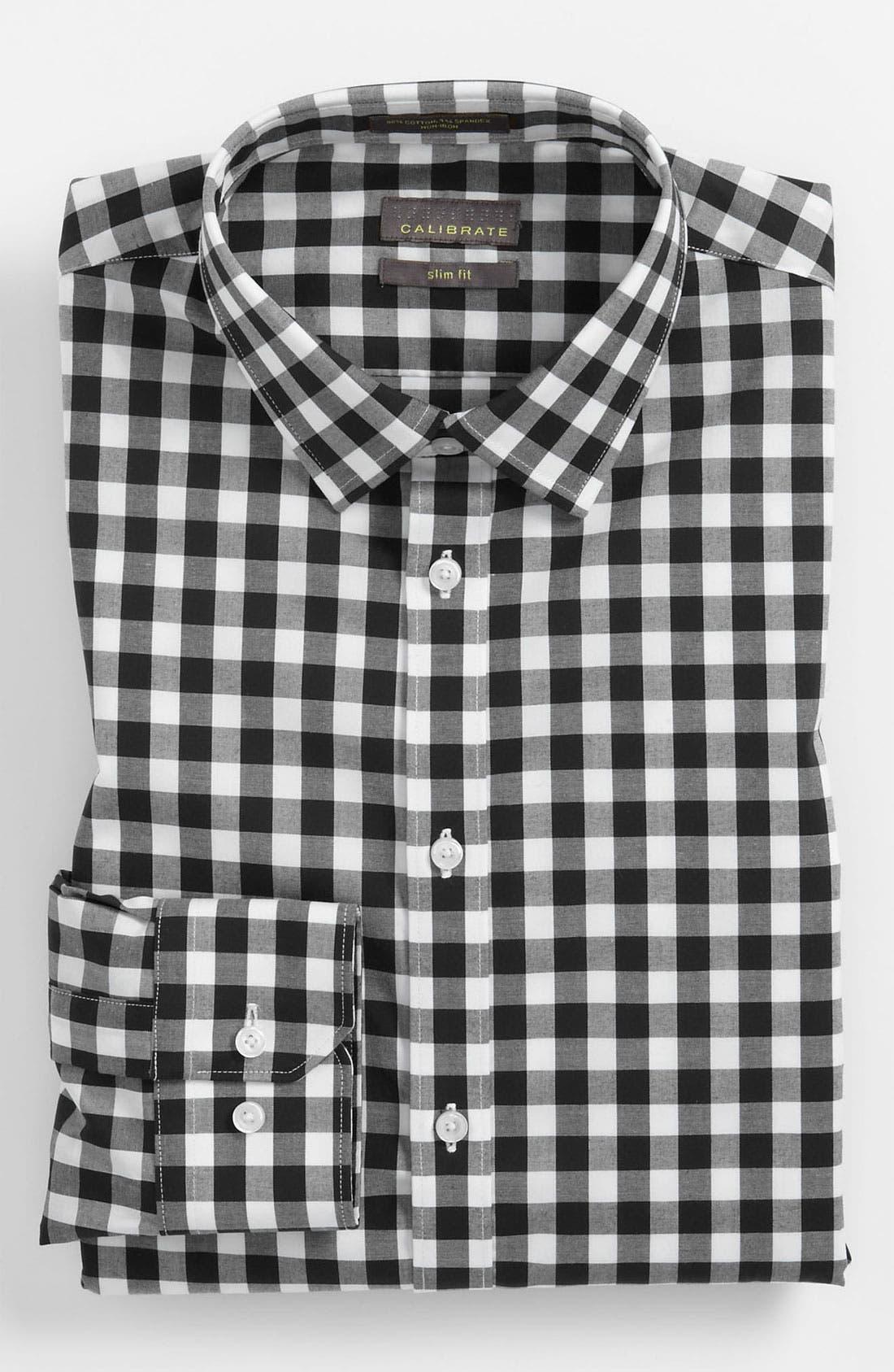 Slim Fit Non Iron Gingham Dress Shirt, Main, color, 001