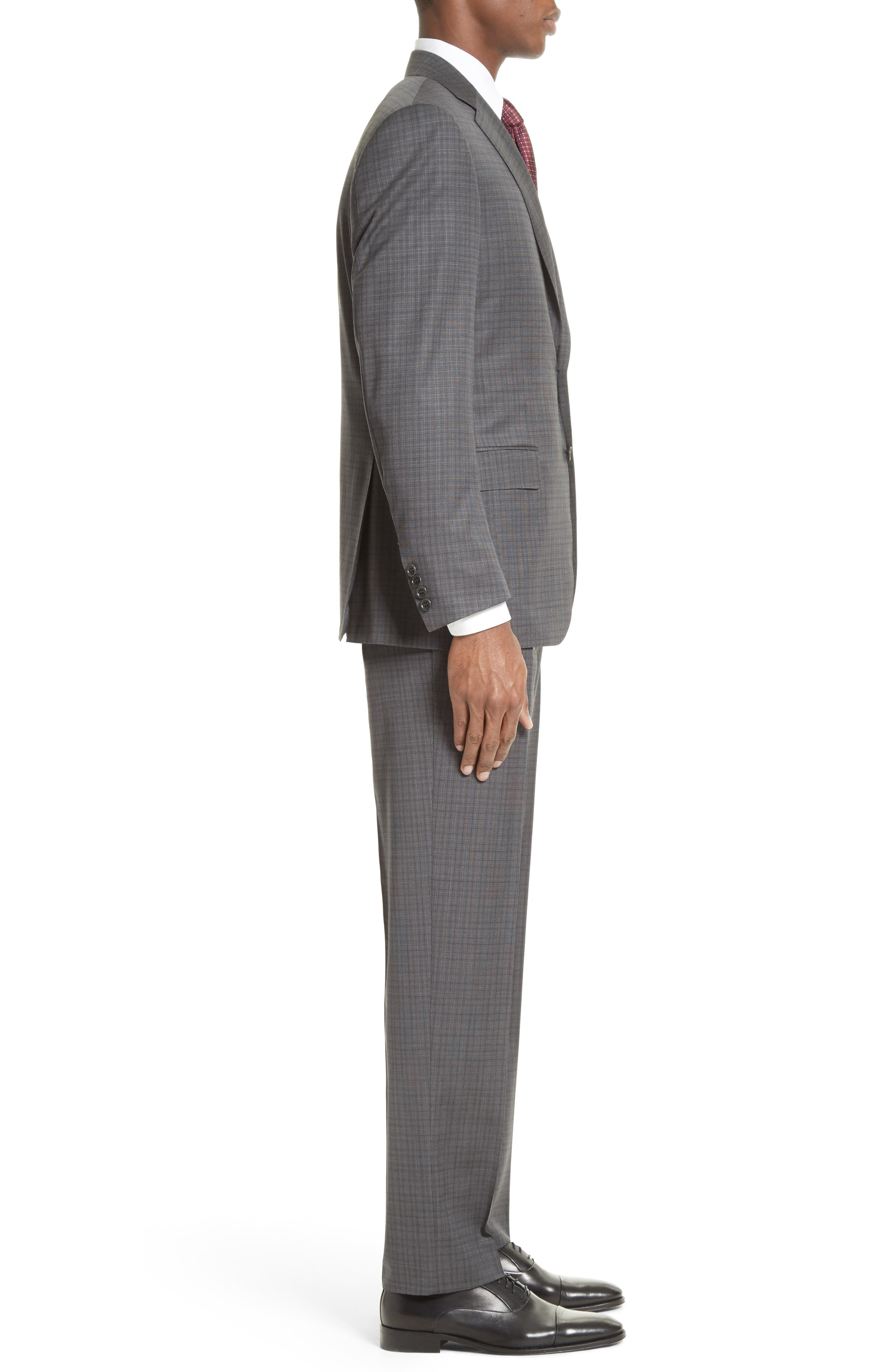 ,                             Classic Fit Check Wool Suit,                             Alternate thumbnail 3, color,                             GREY