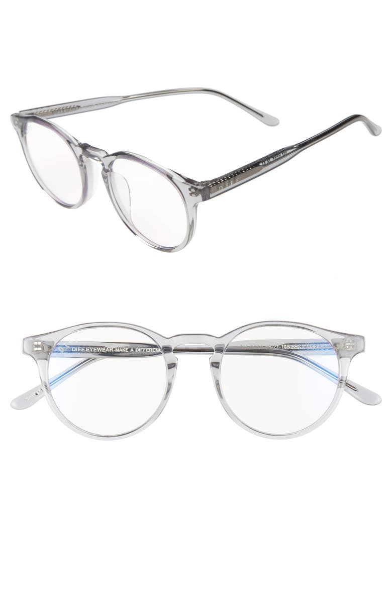 DIFF Sawyer 48mm Optical Glasses, Main, color, CRYSTAL SMOKE/ BLUE LIGHT