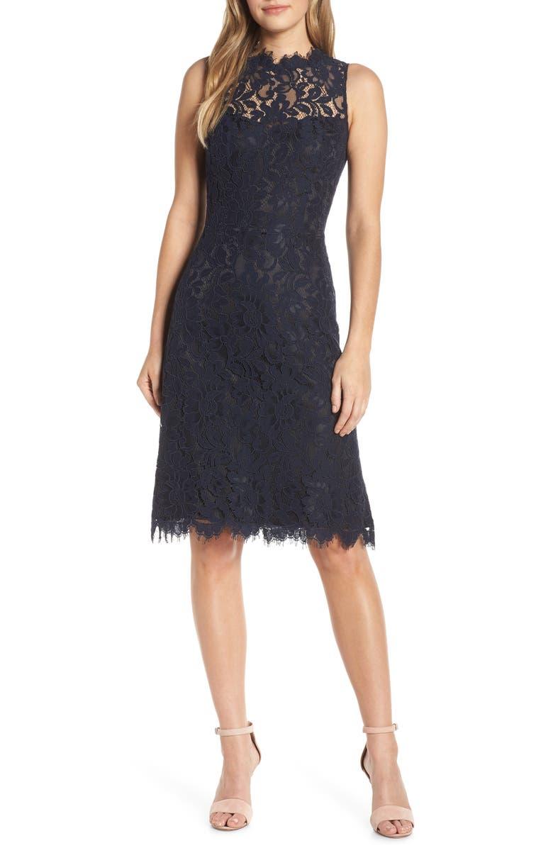 ELIZA J High Neck Lace Sheath Dress, Main, color, NAVY