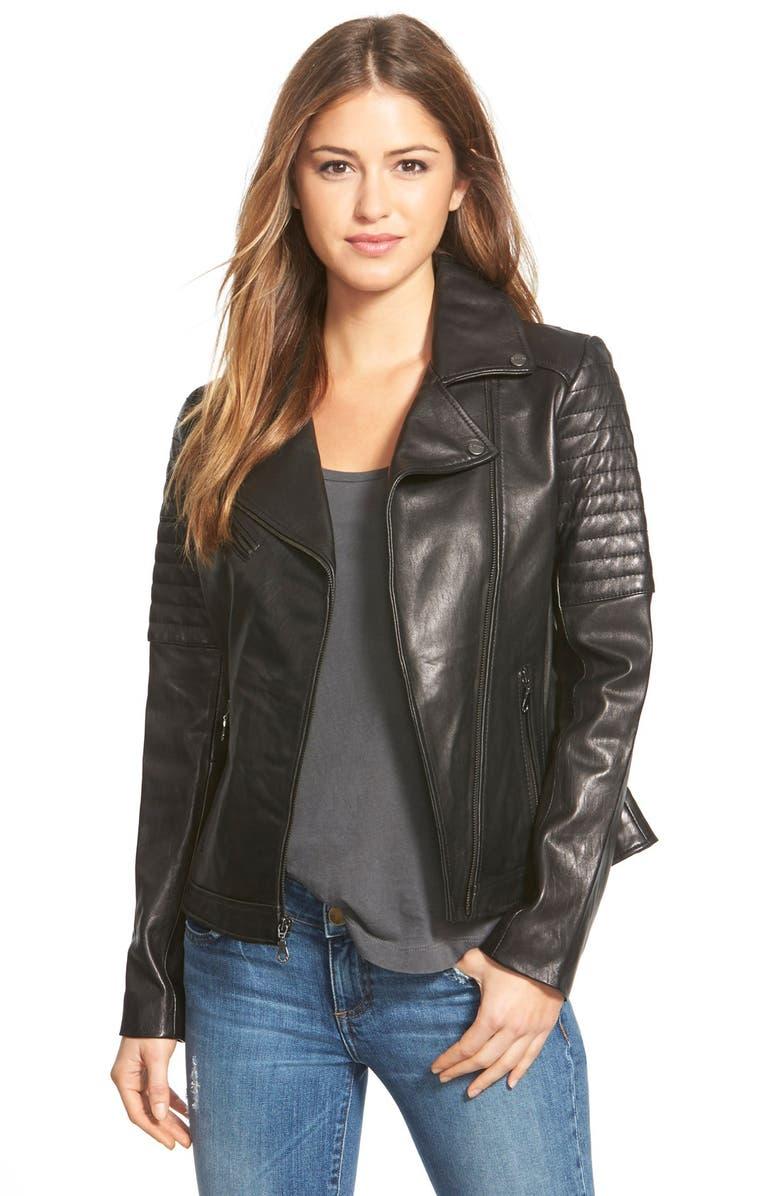 DKNY Asymmetrical Zip Leather Moto Jacket, Main, color, 001