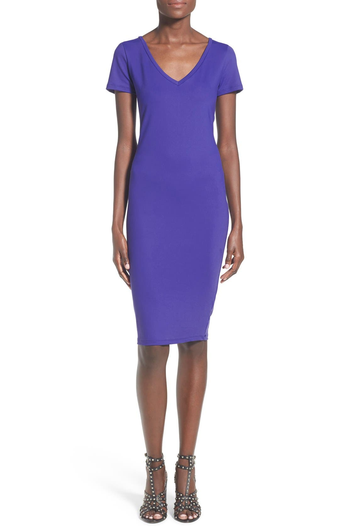 ,                             V-Neck Body-Con Dress,                             Main thumbnail 3, color,                             302
