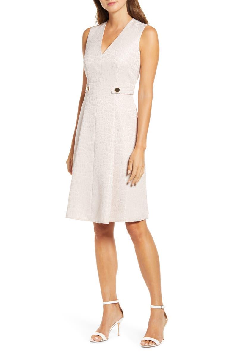 ANNE KLEIN Croc Jacquard Fit & Flare Dress, Main, color, BALLET