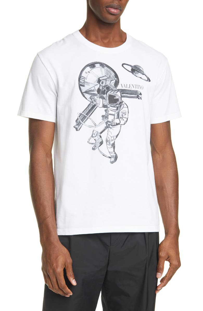 VALENTINO Astronaut Graphic T-Shirt, Main, color, WHITE