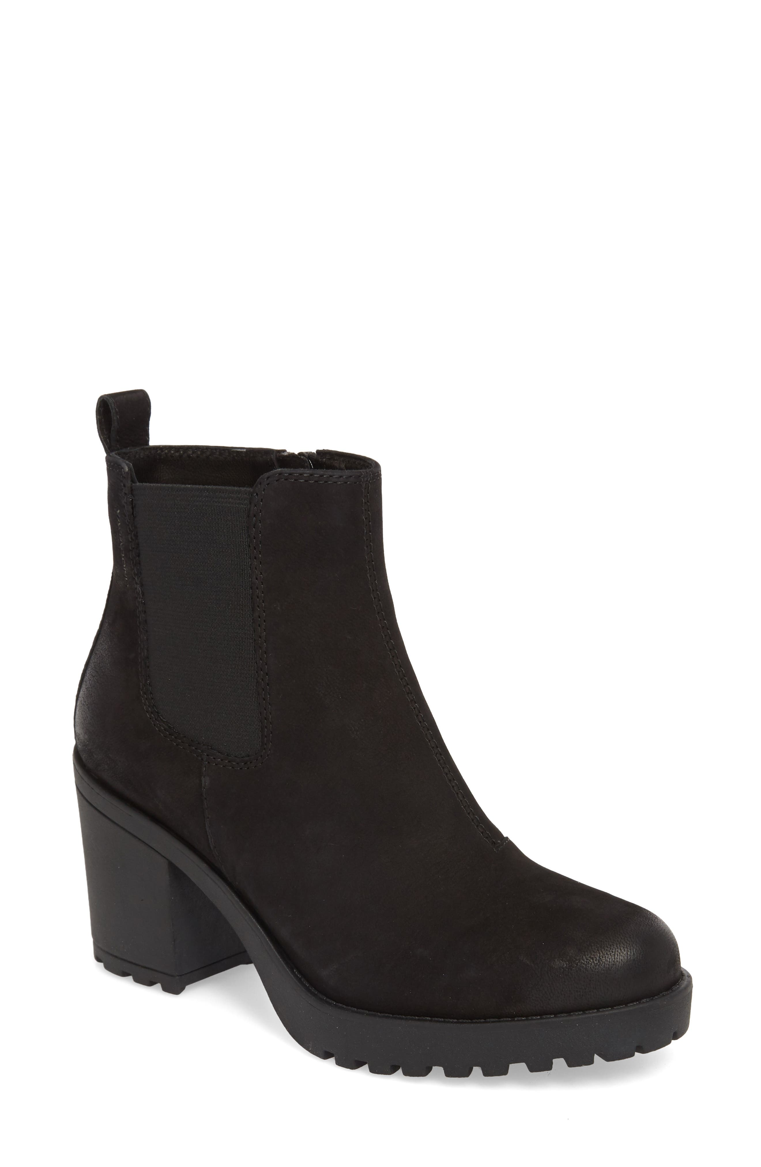 ,                             Grace Chelsea Bootie,                             Main thumbnail 1, color,                             BLACK NUBUCK