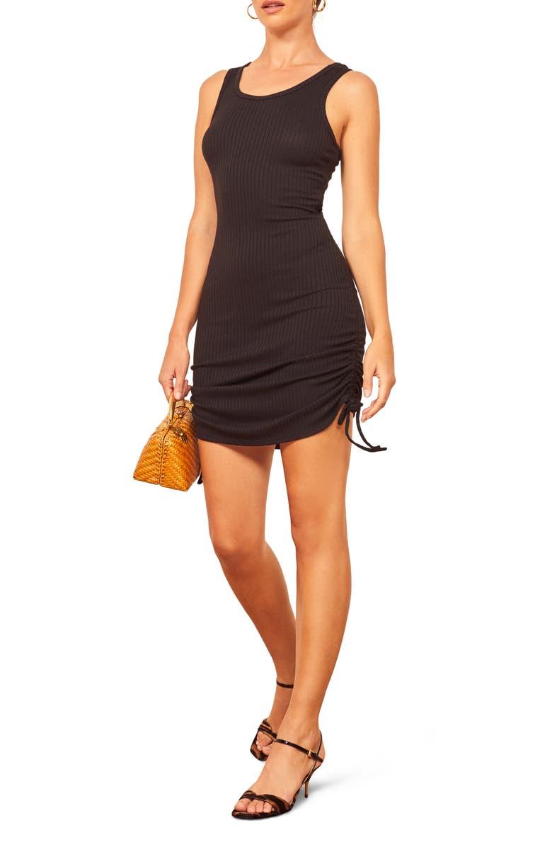 REFORMATION Aerin Body-Con Minidress, Main, color, BLACK