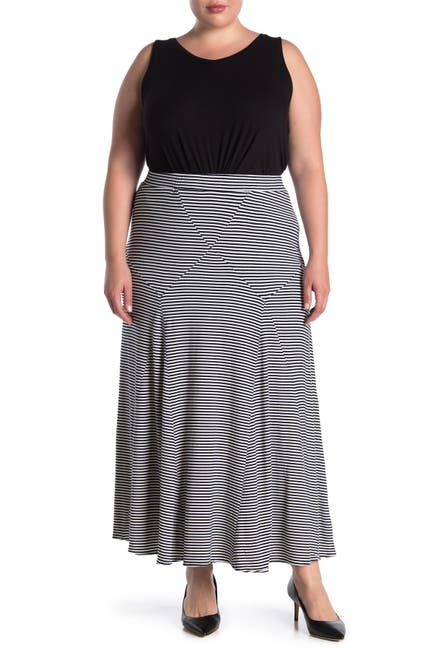 Image of Philosophy Apparel Seam Detail Striped Maxi Skirt