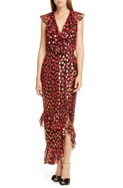Saloni Dresses ANITA RUFFLE TRIM SILK BURNOUT DRESS