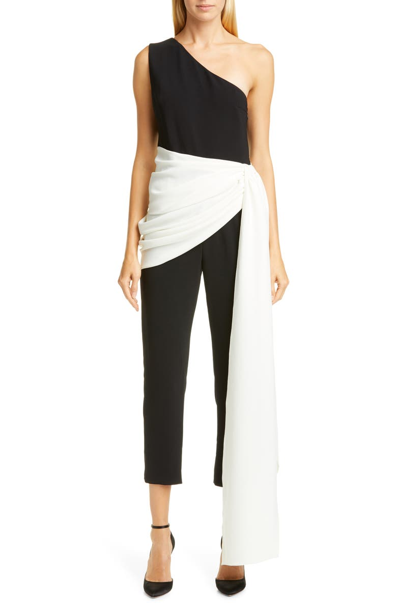 CHRISTIAN SIRIANO Side Sash Crop Jumpsuit, Main, color, 001
