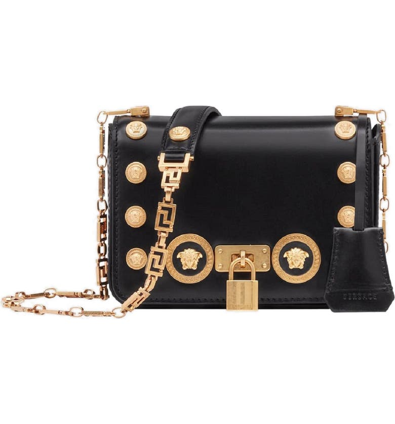 VERSACE Icon Studded Leather Crossbody Bag, Main, color, NERO