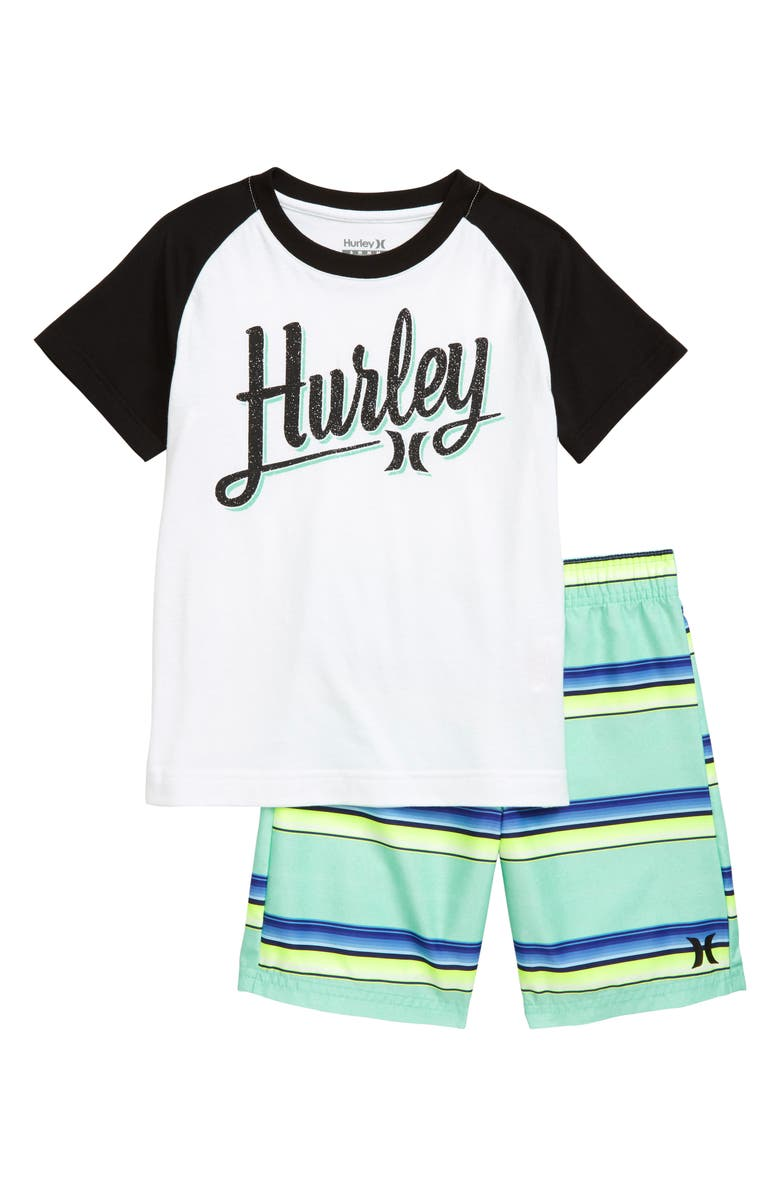 HURLEY Rainforest Shirt & Shorts Set, Main, color, TROPICAL TWIST