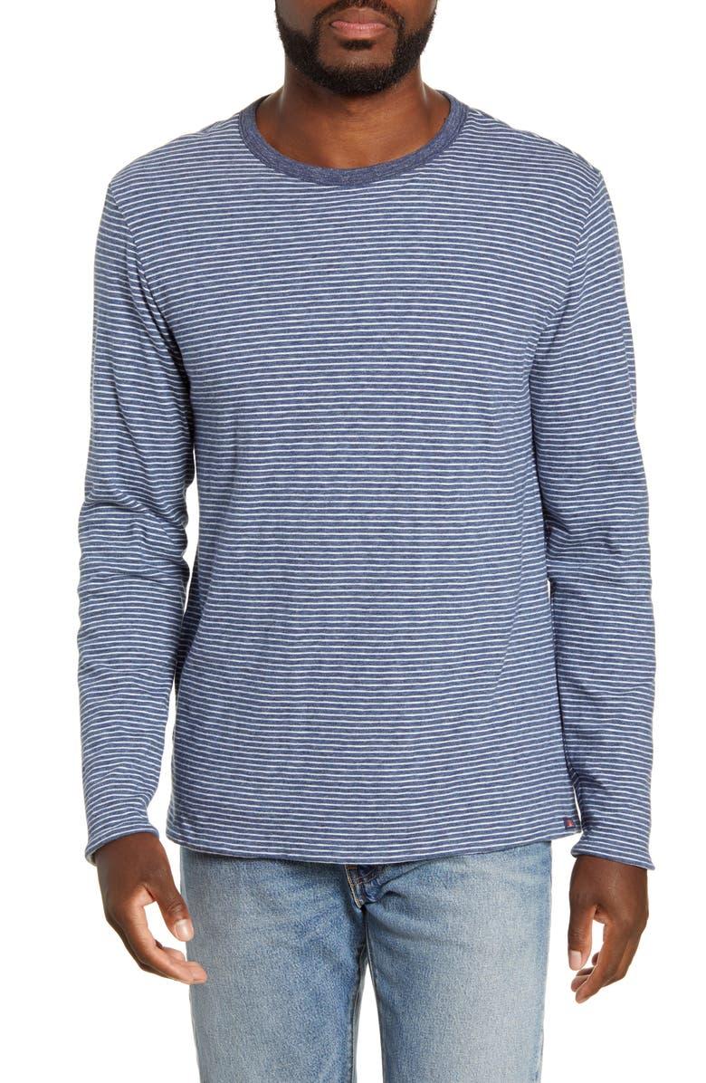 FAHERTY Luxe Heather Regular Fit Reversible Crewneck T-Shirt, Main, color, NAVY CREAM STRIPE