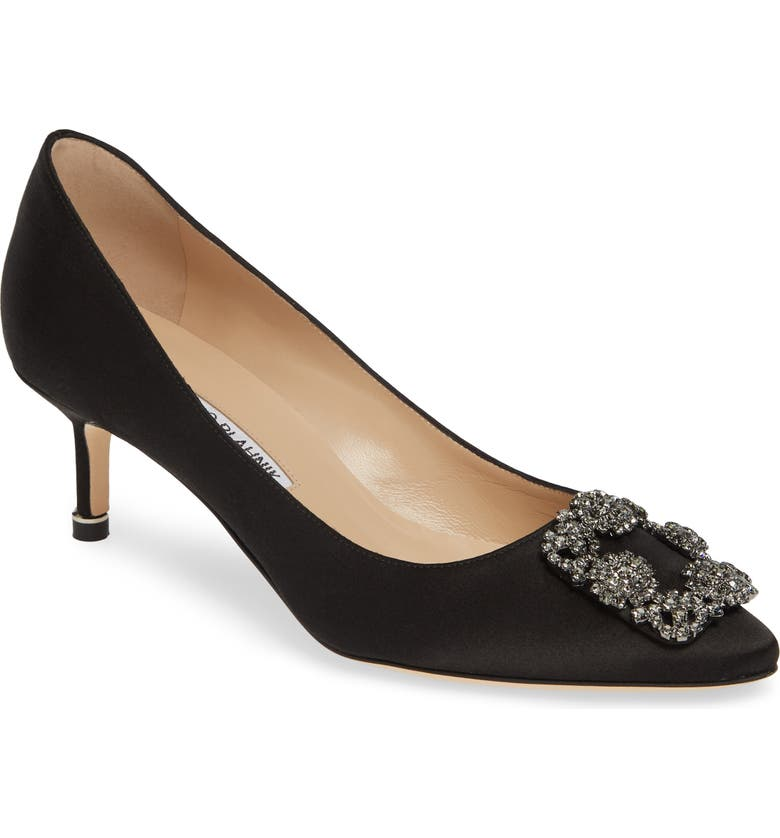 MANOLO BLAHNIK Hangisi Crystal Embellished Pump, Main, color, BLACK SATIN