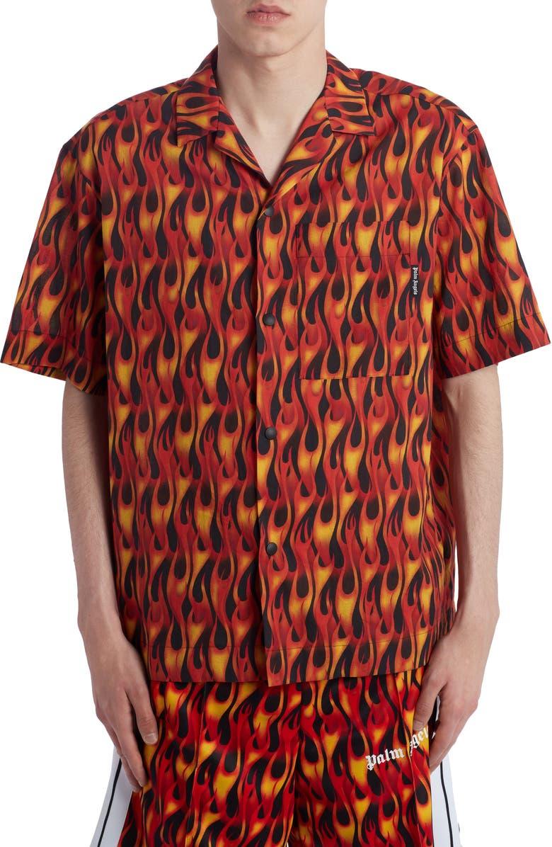 PALM ANGELS Burning Bowling Shirt, Main, color, 001