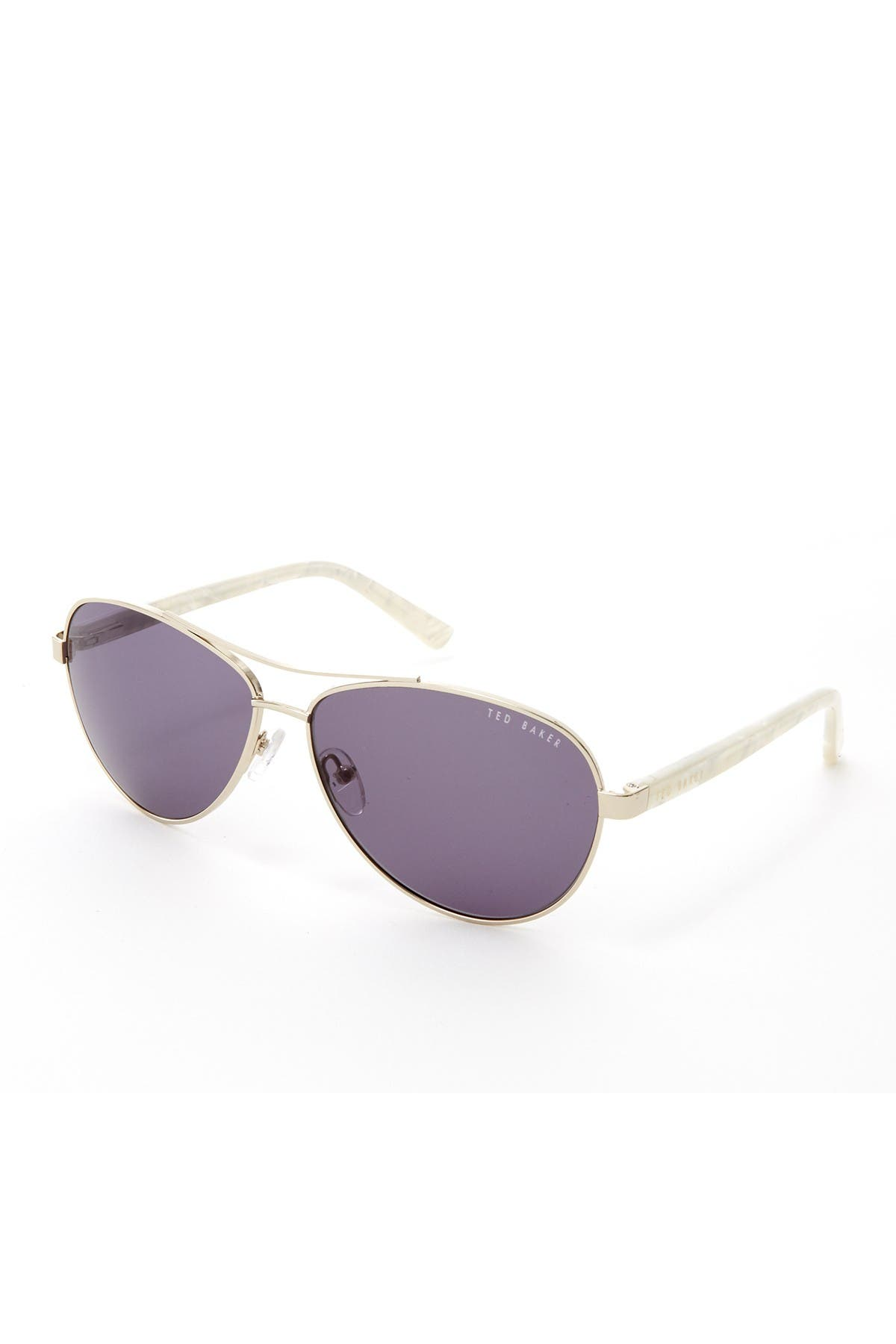Image of Ted Baker London 60mm Metal Aviator Polarized Sunglasses