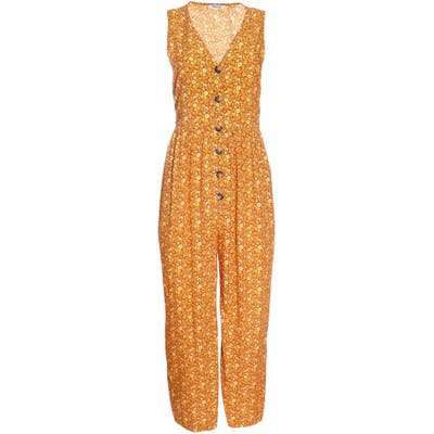 Madewell Americana Floral Button Front Jumpsuit, Orange
