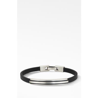 David Yurman Deco Black Leather Id Bracelet