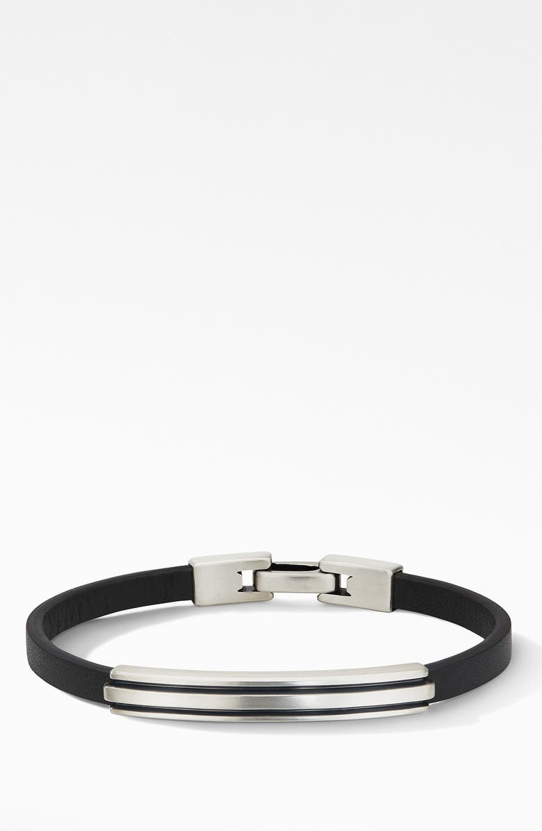 DAVID YURMAN Deco Black Leather ID Bracelet, Main, color, SILVER