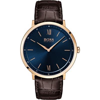 Boss Essential Ultra Slim Leather Strap Watch, 40Mm