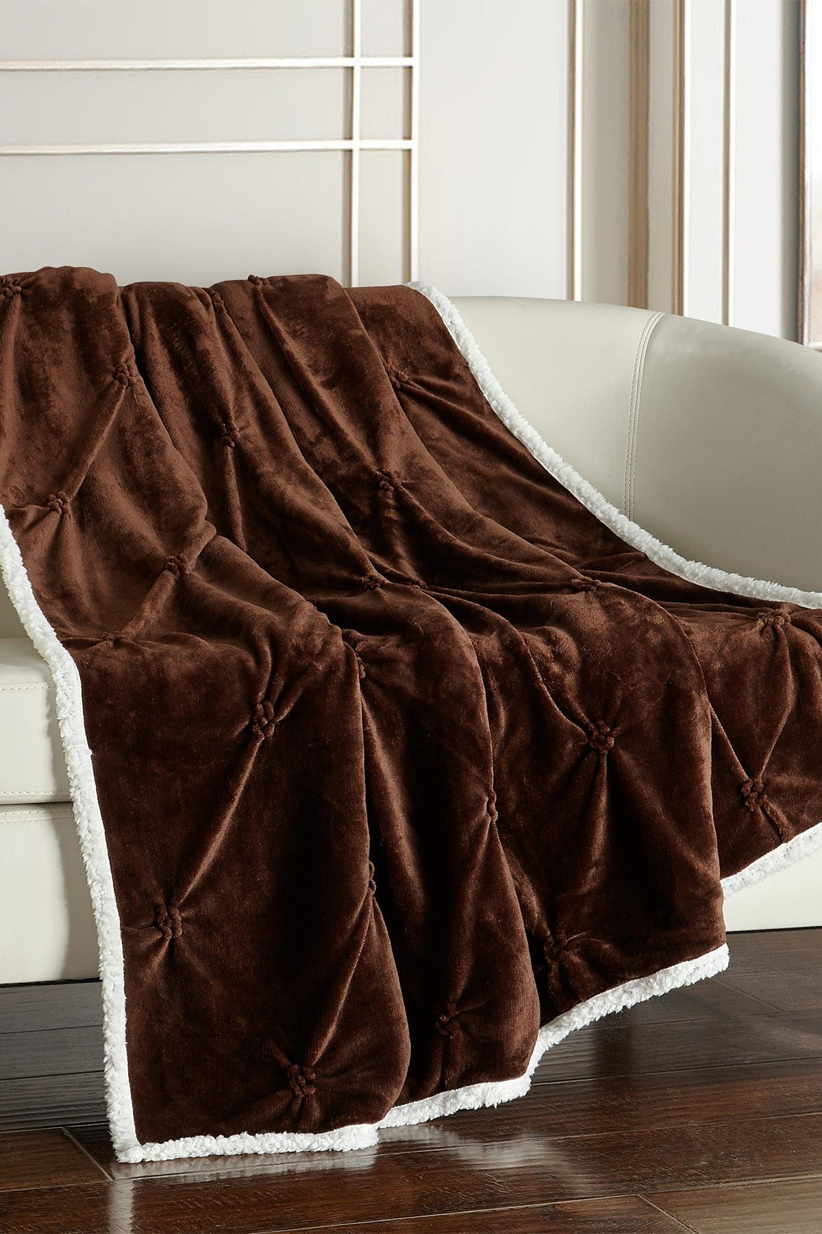 """Image of Chic Home Bedding Caracas Pinch Pleated Faux Shearling Lined Throw Blanket - 50"""" x 60"""" - Brown"""