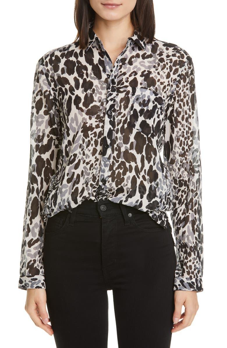 SAINT LAURENT Leopard Print Cotton & Silk Blouse, Main, color, NOIR CRAIE GRIS