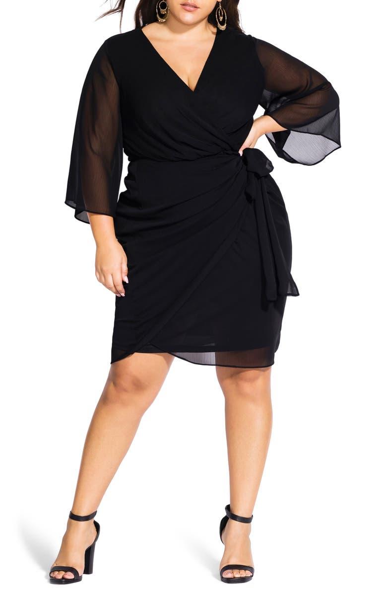 CITY CHIC Chiffon Faux Wrap Dress, Main, color, 001
