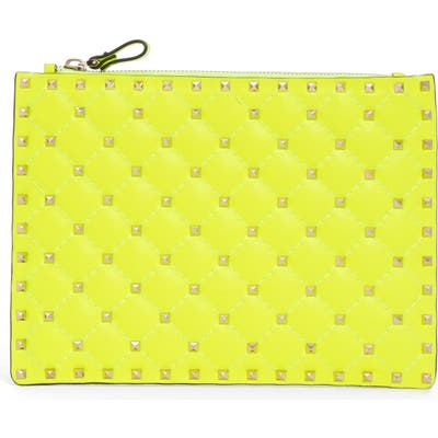 Valentino Garavani Medium Rockstud Spike Leather Flat Pouch - Yellow