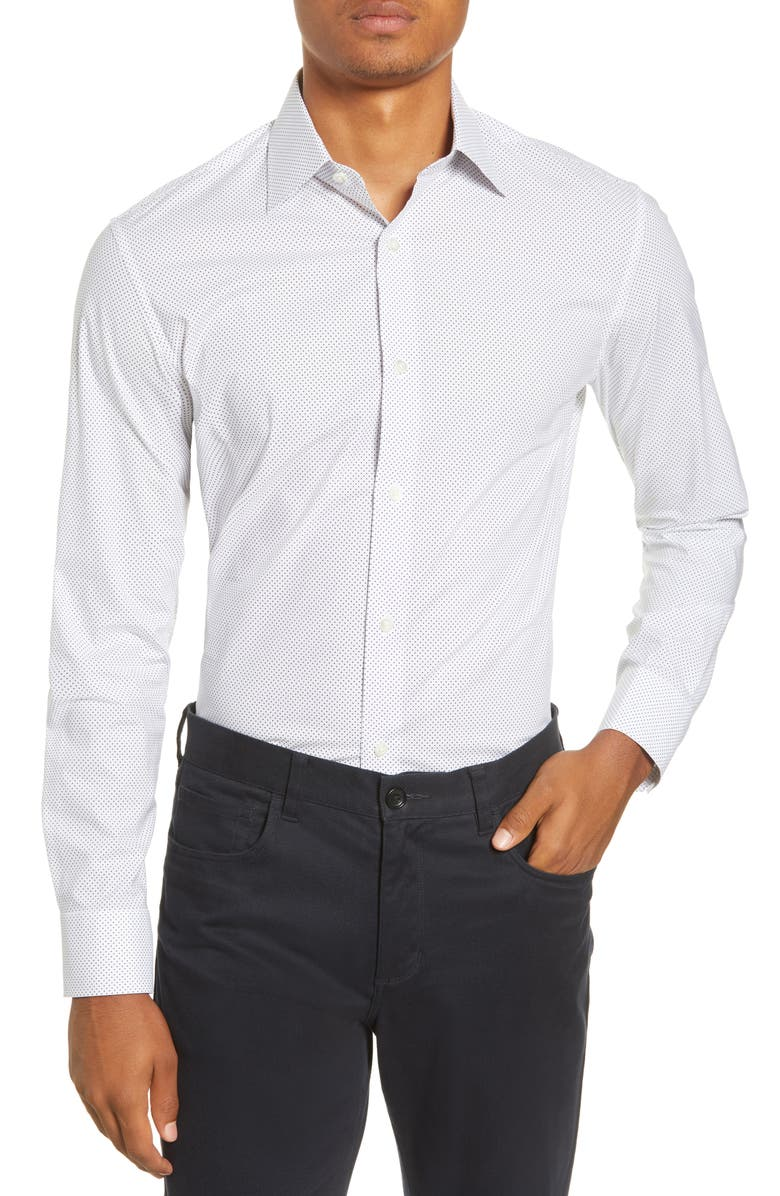 BONOBOS Slim Fit Stretch Fine Dot Dress Shirt, Main, color, FINE DOTS RAINSTORM