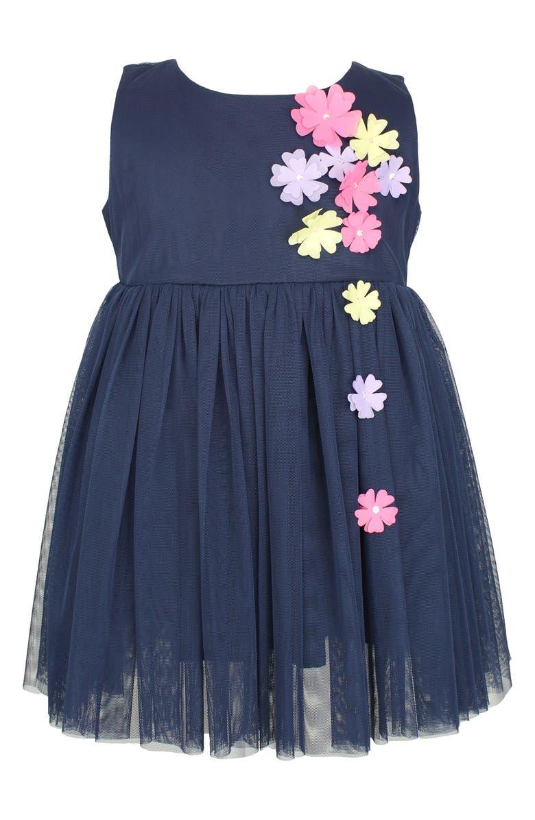 POPATU Flower Appliqué Tulle Dress, Main, color, NAVY