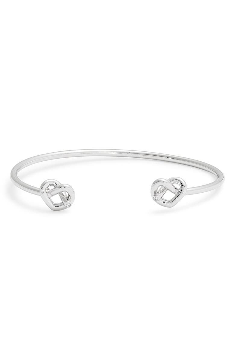KATE SPADE NEW YORK double loves me knot cuff bracelet, Main, color, SILVER