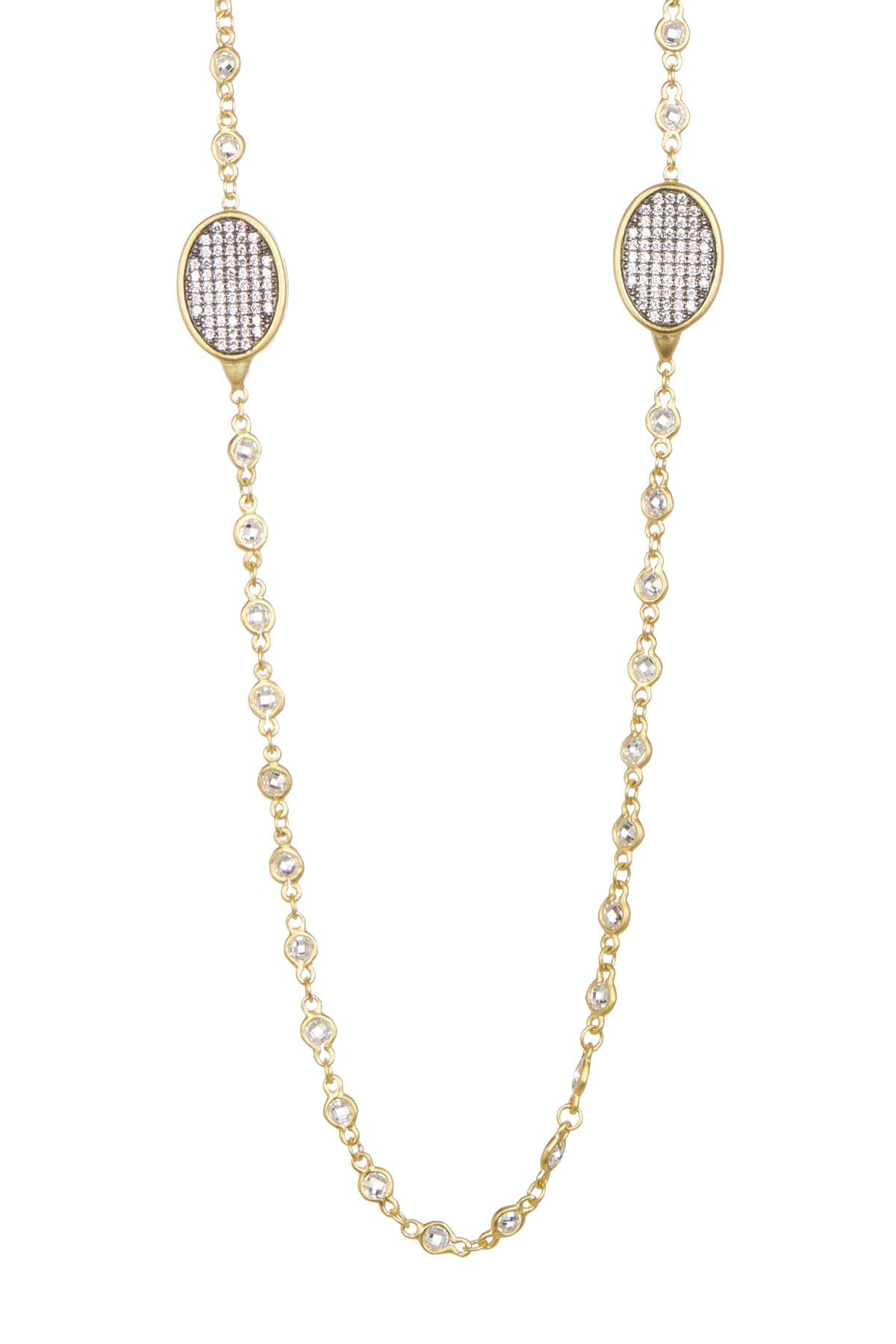 Image of Freida Rothman 14K Gold Plated Sterling Silver CZ Contemporary Deco Marquise Station Necklace