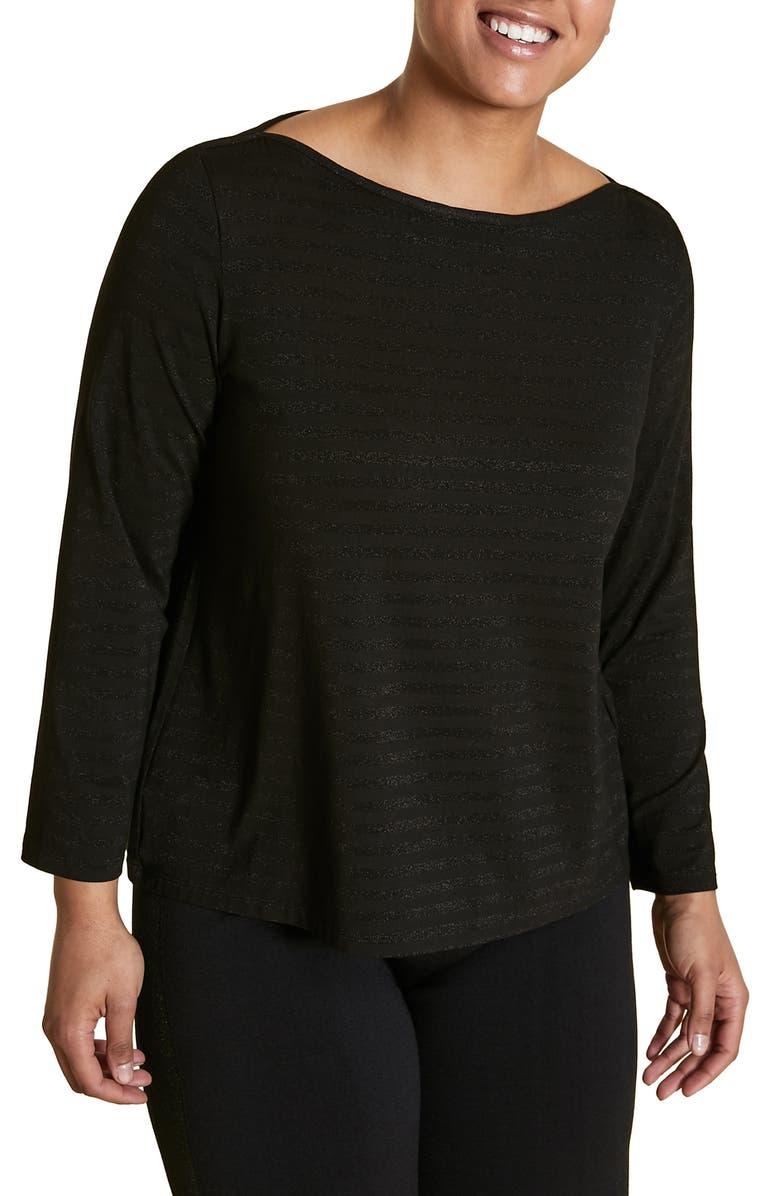 MARINA RINALDI Vairone Metallic Stripe Top, Main, color, BLACK