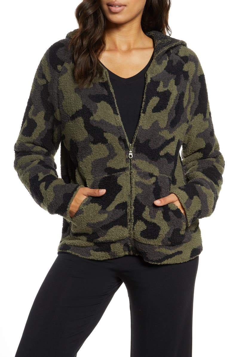 BAREFOOT DREAMS<SUP>®</SUP> CozyChic<sup>™</sup> Camo Zip Hoodie, Main, color, OLIVE MULTI