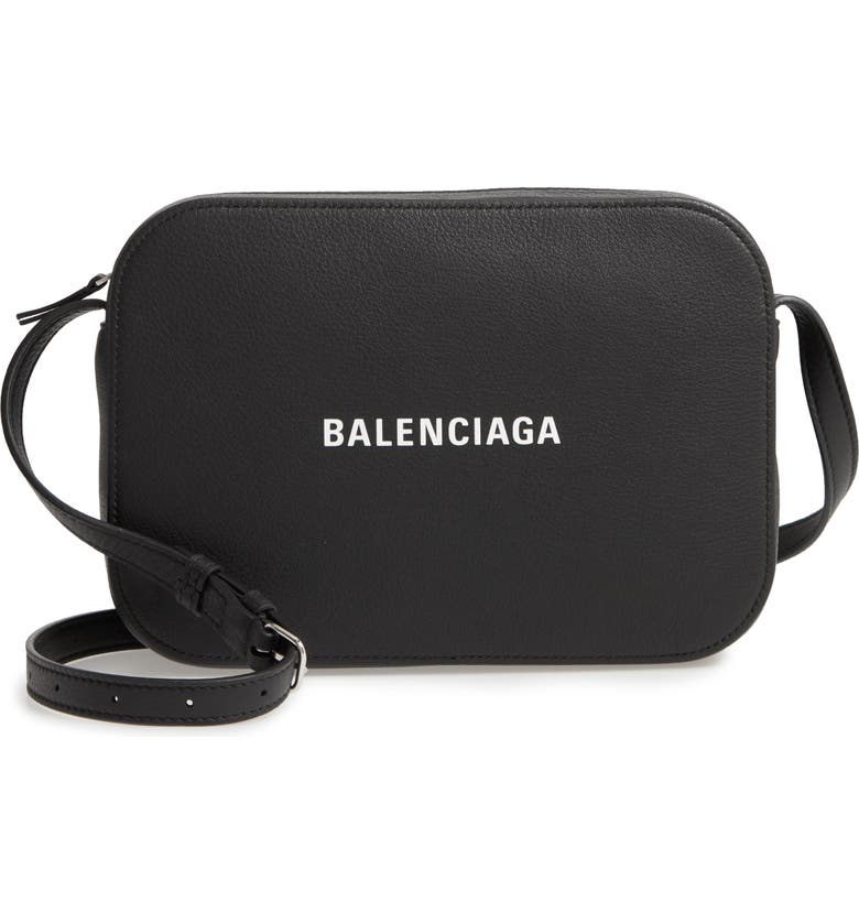 BALENCIAGA Large Everyday Calfskin Camera Bag, Main, color, BLACK/ WHITE