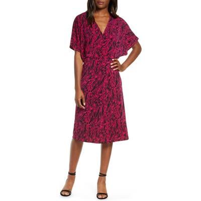 Leota Ruby Zebra Print Short Sleeve Jersey Dress, Pink