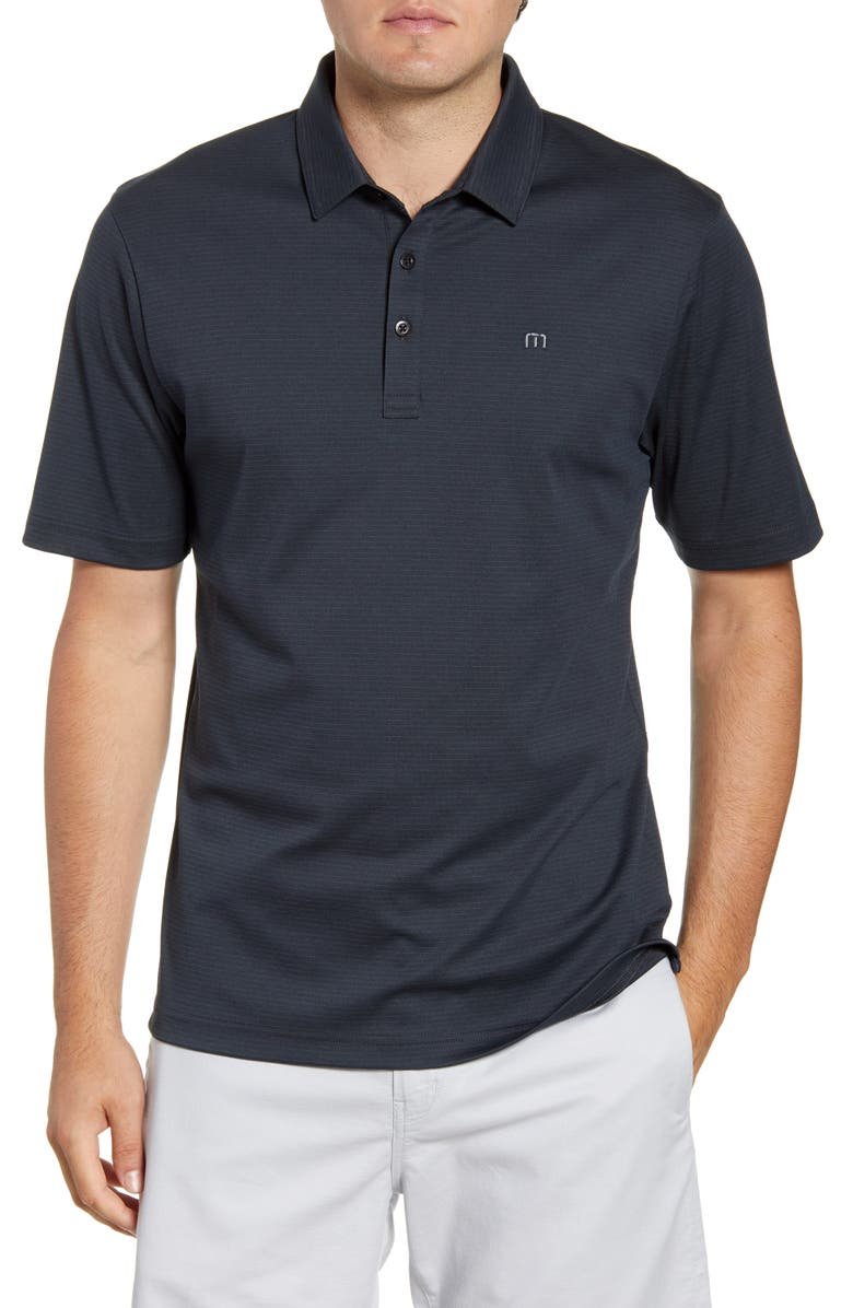 TRAVISMATHEW Panka Stripe Performance Polo, Main, color, BLACK/ QUIET SHADE