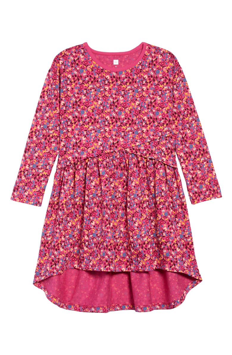 TEA COLLECTION Long Sleeve High/Low Dress, Main, color, SUNRISE FLORAL-FLAMBE