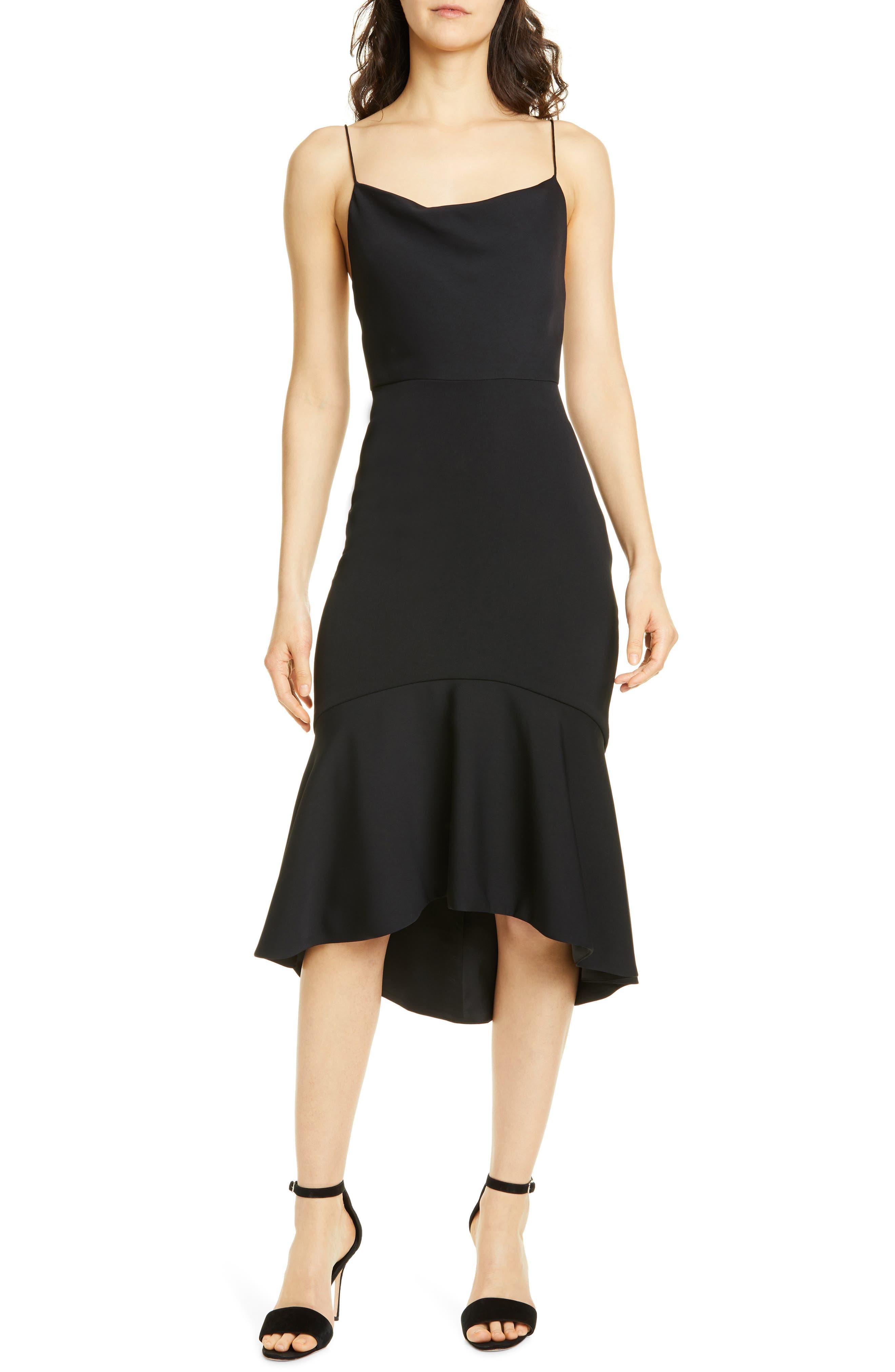 Alice + Olivia Adrina Flounce Hem Midi Dress, Black