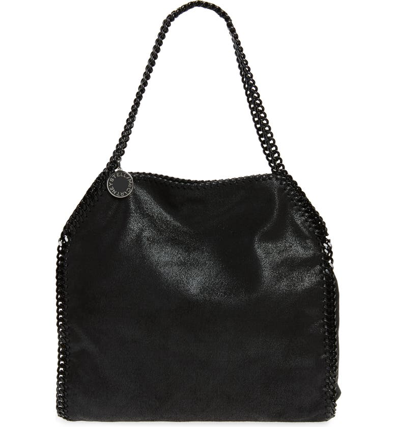 STELLA MCCARTNEY Small Falabella Shaggy Deer Faux Leather Tote, Main, color, BLACK OUT