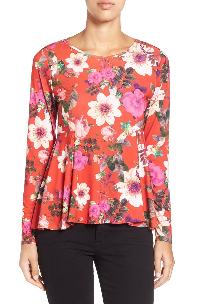 CECE by Cynthia Steffe 'Majestic Floral' Print Knit Swing Top, Main, color, 629