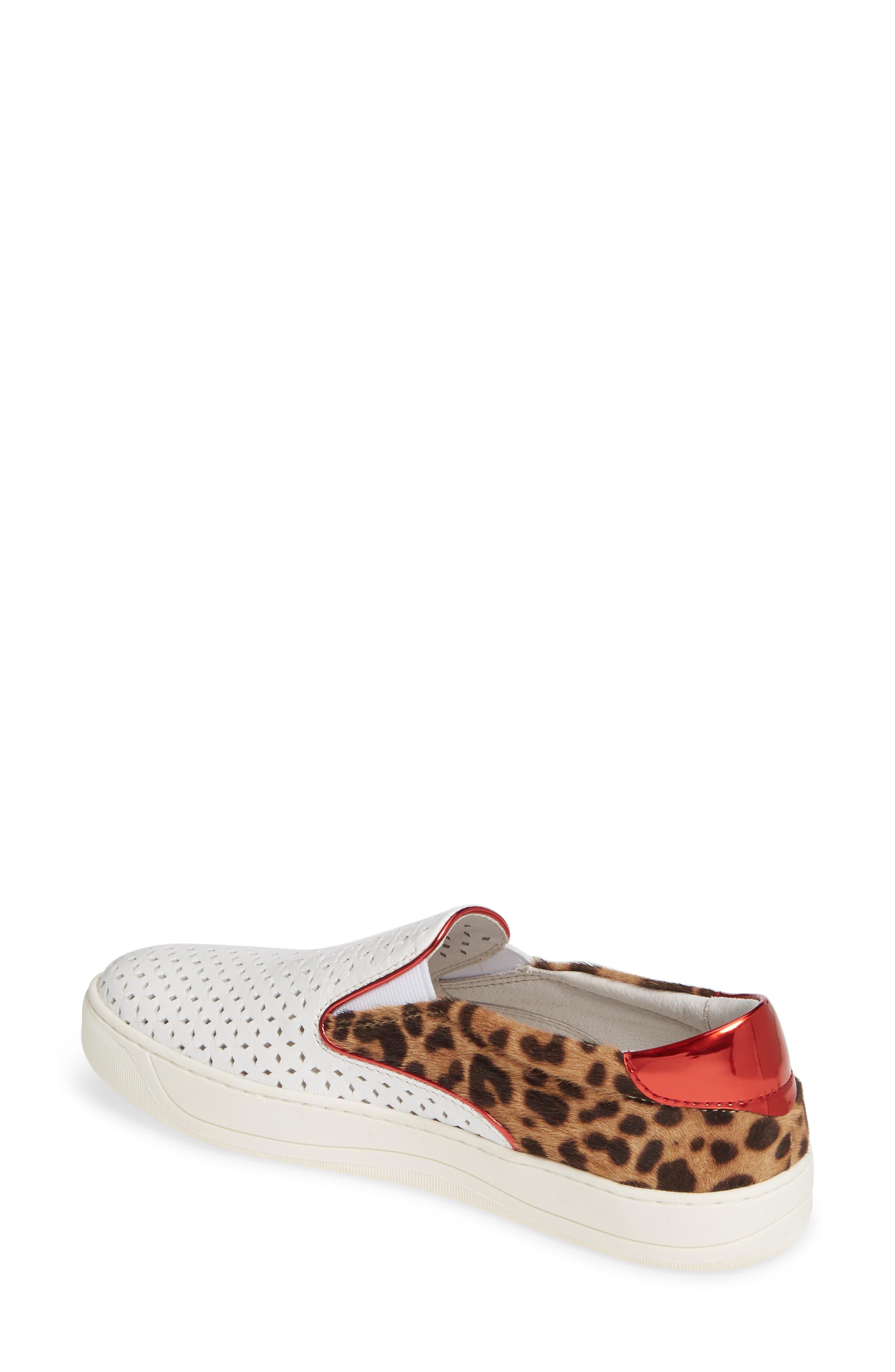 ,                             Elaine Perforated Genuine Calf Hair Slip-On Sneaker,                             Alternate thumbnail 2, color,                             WHITE LEATHER/ PRINT CALF HAIR