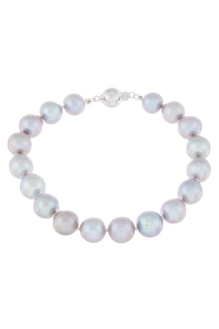 Image of Splendid Pearls Rhodium Plated Sterling Silver 10-11mm Grey Cultured Freshwater Pearl Bracelet