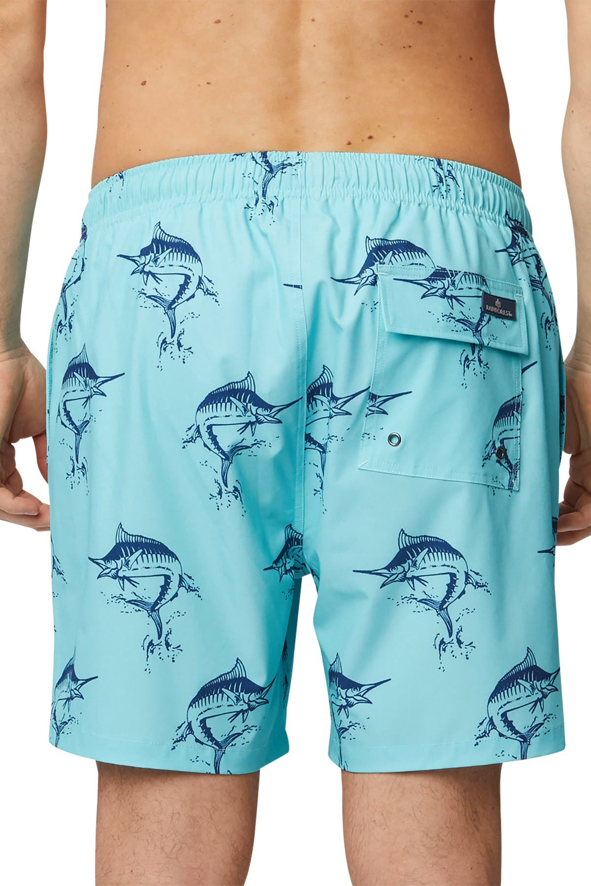 Image of Rainforest Catch Swordfish Print Stretch Swim Trunks