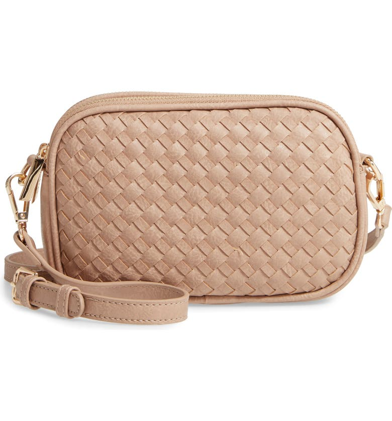 MALI + LILI Ava Woven Vegan Leather Crossbody Bag, Main, color, TAUPE