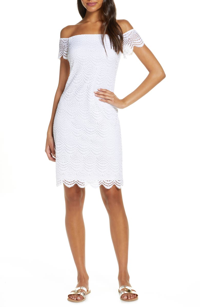 LILLY PULITZER<SUP>®</SUP> Off the Shoulder Scallop Dress, Main, color, RESORT WHITE SCALLOPED SHELL