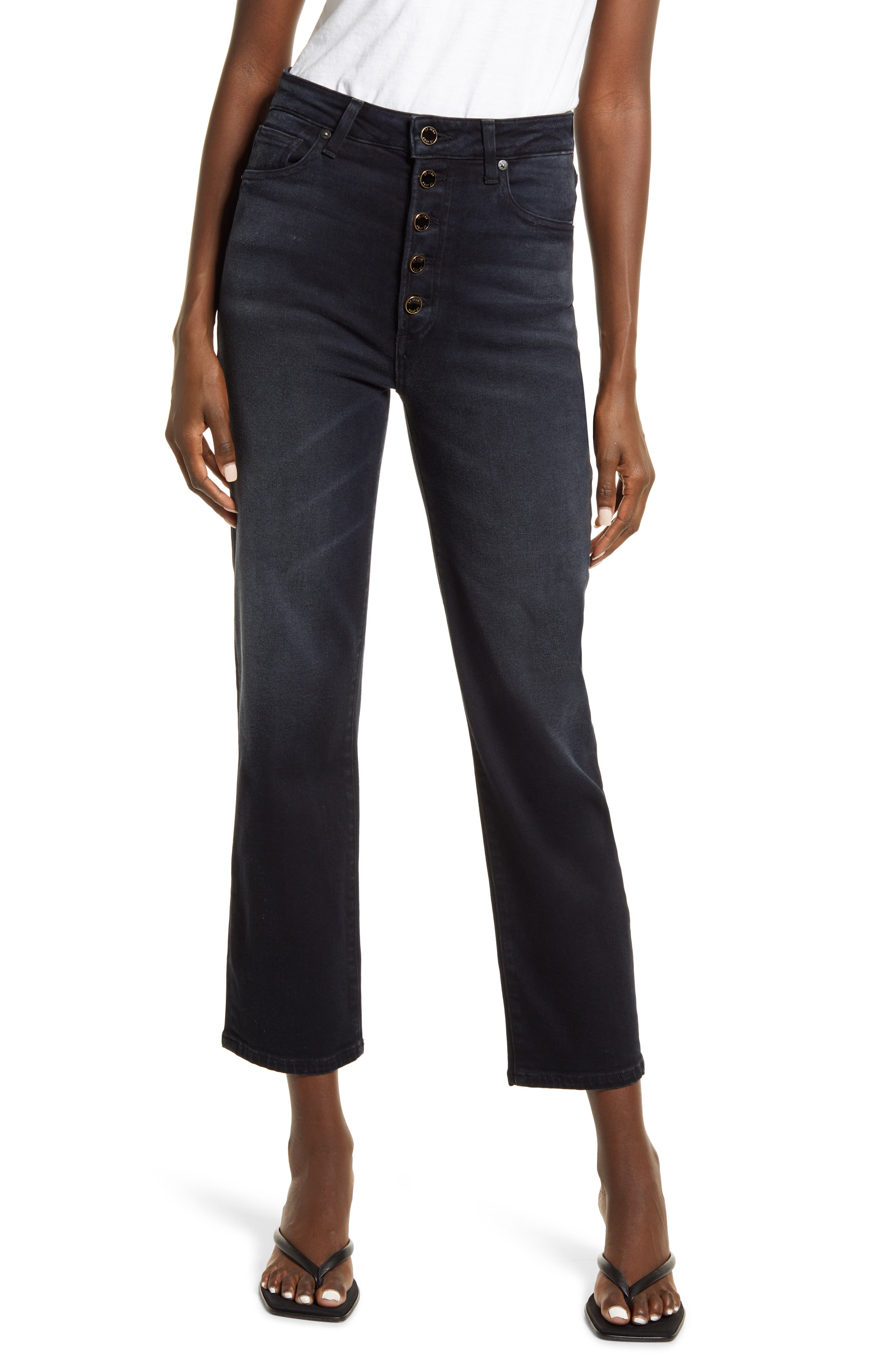 Scarlett Exposed Button Ankle Straight Leg Jeans