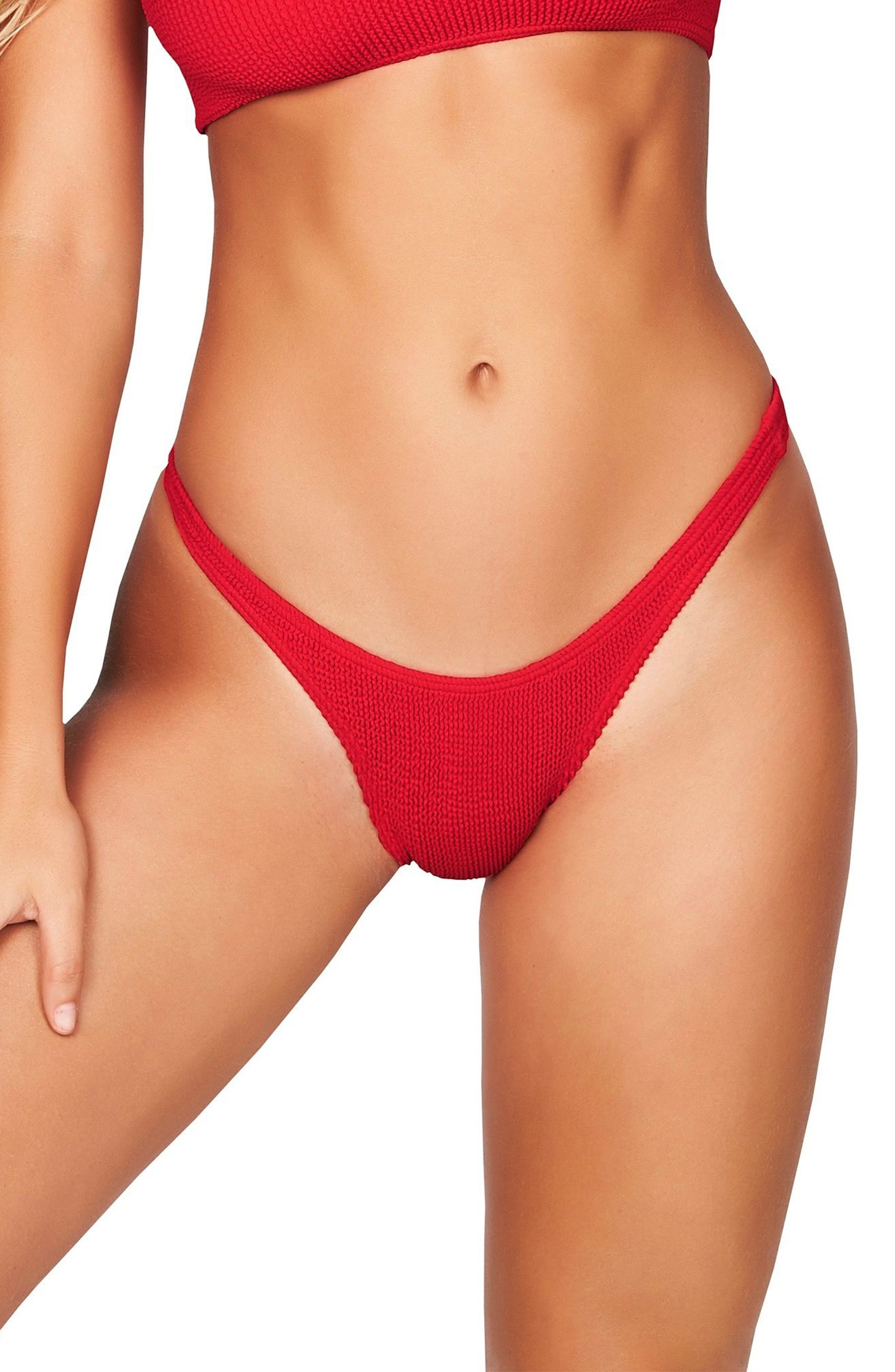 Bound By Bond-Eye The Scene High-Cut Ribbed Bikini Bottoms, Size One Size - Red