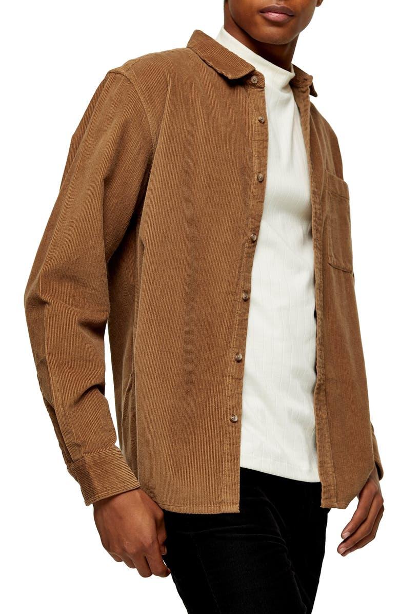 TOPMAN Corduroy Button-Up Shirt, Main, color, BROWN