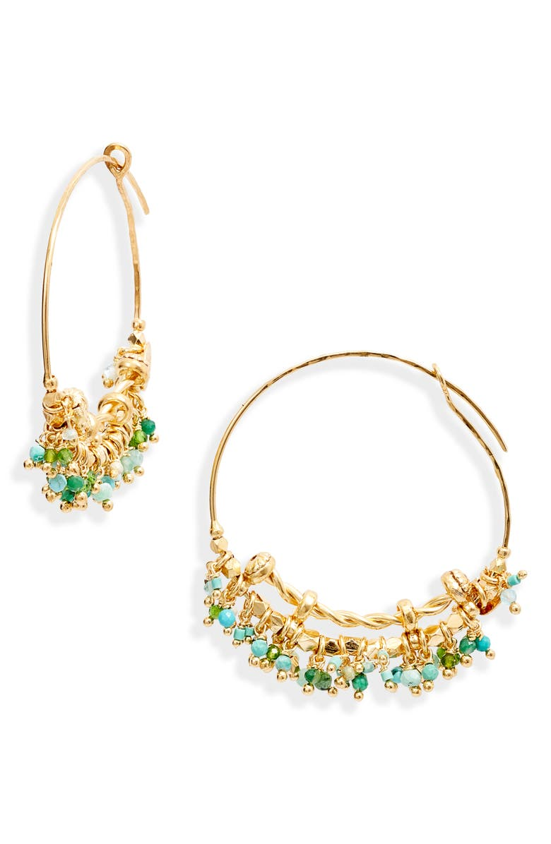 GAS BIJOUX Creole Grappia Hoop Earrings, Main, color, GREEN BLUE